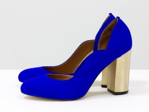 Ярко-синие туфли из натуральной замши на золотом каблуке с объемным 3D рисунком, Т-17423/-01