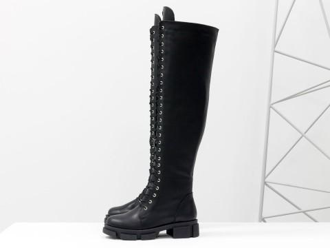 Высокие сапоги ботфорты из черной натуральной кожи на шнуровке, М-19123-04