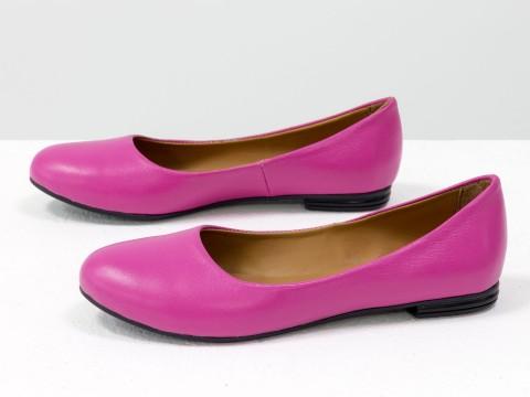 Летние балетки розового цвета из натуральной кожи на тонкой подошве черного цвета, Т-2110-01