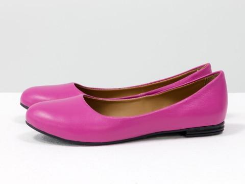 Летние балетки розового цвета из натуральной кожи на тонкой подошве, Т-2110-01