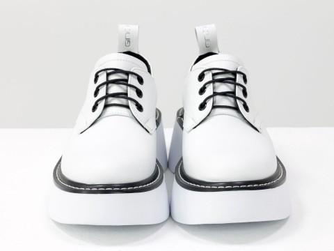 Женские туфли на утолщенной подошве из натуральной белой  кожи, Т-2048-04