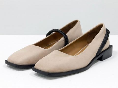 Летние  туфли из итальянской замши бежевого цвета на низком ходу с резинкой из кожи, Т-2112-01