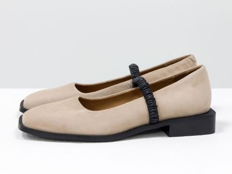 Женские бежевые туфли на низком ходу из натуральной замши, Т-2112-01