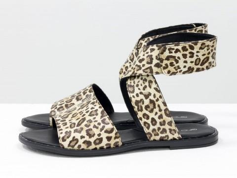 Леопардовые босоножки на низком ходу из натуральной кожи, С-608-23