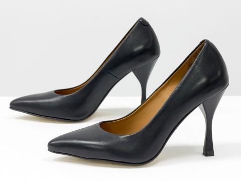 """Дизайнерские туфли-лодочки на высоком каблуке """"рюмочка"""" из натуральной итальянской кожи черного цвета,  Т-2107-01"""