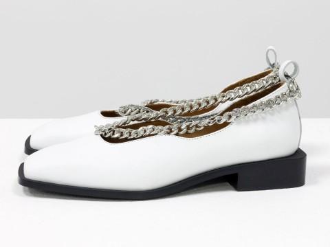 Женские белые туфли на низком ходу из натуральной белой кожи с цепочкой, Т-2113-01