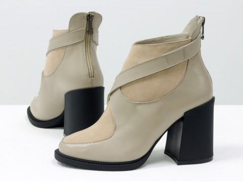 Женские  ботинки из натуральной бежевой кожи и персиковой замши на устойчивом каблуке, Б-2099-02