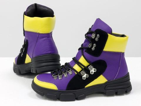 Женские спортивные ботинки на шнуровке из натуральной  кожи фиолетового и ярко-желтого цвета