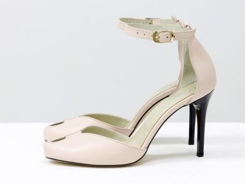 Пудровые туфли на шпильке из кожи на застежке вокруг щиколотки, Д-36-02