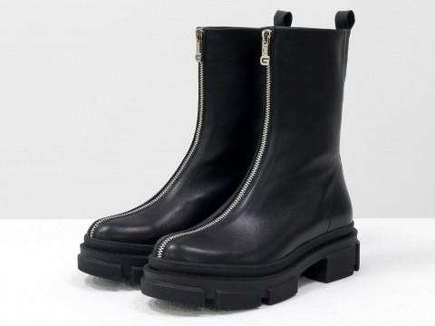 Завышенные черные ботинки  из натуральной  кожи с молнией, Б-2101-01