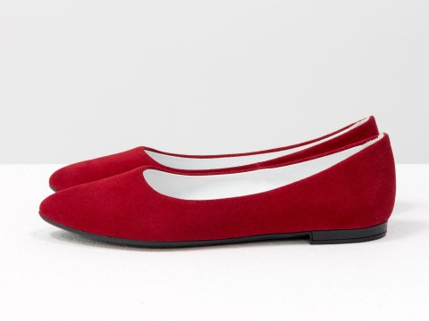 Летние балетки красного цвета из натуральной кожи на тонкой подошве, Весна-Лето