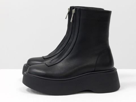 Высокие  ботинки  из черной кожи на высокой подошве с молнией впереди, Б-2103-01