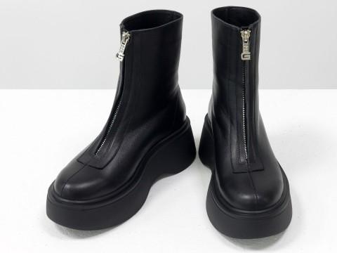 Завышенные черные ботинки  из натуральной  кожи с молнией, Б-2103-01