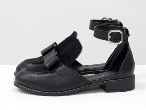 Женские черные туфли из меха пони на маленьком каблуке, Т-1912-01