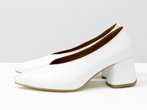 Дизайнерские туфли-перчатки на невысоком обтяжном каблуке из натуральной итальянской кожи белого цвета,  Т-2050-22