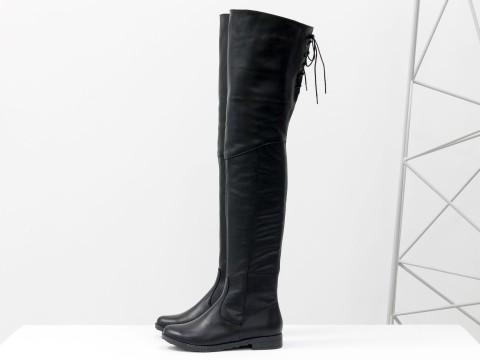 Высокие сапоги-ботфорты из черной кожи со шнуровкой сзади, М-111/17-02