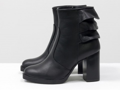 Весенние ботинки женские из кожи черного цвета на каблуке, Б-1819-01