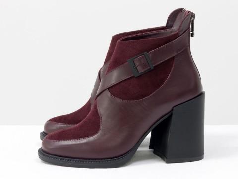 Женские классические ботинки бордового цвета из натуральной кожи с замшей на устойчивом каблуке, Б-2099-03