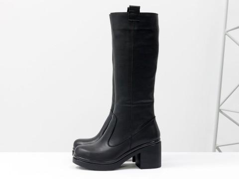 Осенние сапоги черного цвета из гладкой натуральной кожи на каблуке, М-16071/1-03