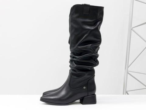 Cапоги из натуральной черной кожи на маленьком каблуке, М-2083-06