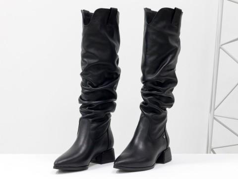 Осенние сапоги черного цвета из натуральной кожи  на маленьком каблуке, М-2083-06
