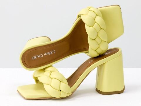 """Дизайнерские шлепанцы """"косички"""" на расклешенном каблуке из натуральной итальянской кожи желтого цвета, С-2041-07"""