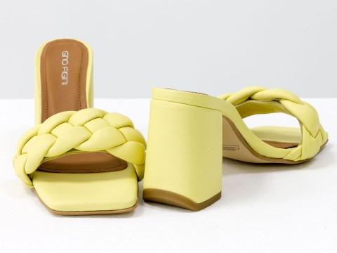 """Дизайнерские  босоножки """"косичка"""" на расклешенном  каблуке из натуральной итальянской кожи  желтого цвета"""
