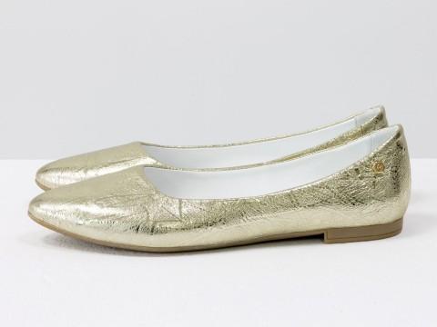 Женские балетки золотого цвета из натуральной кожи на бежевой подошве, лето-весна