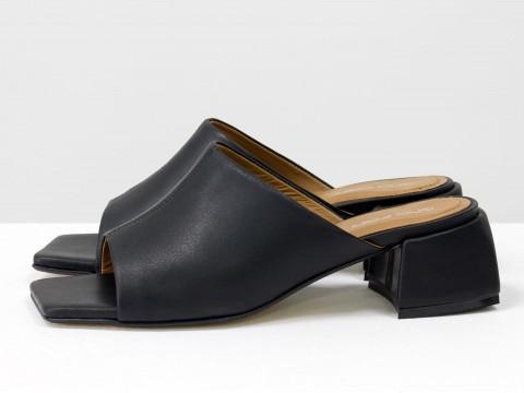 Дизайнерские черные шлёпанцы на небольшом каблуке из натуральной итальянской кожи, С-2127-04