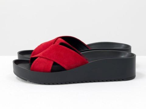 Красные женские шлепанцы на удобной подошве, С-563-25