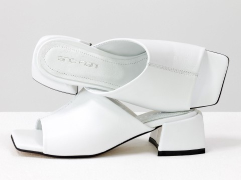Дизайнерские шлёпанцы на небольшом каблуке из натуральной итальянской белой  кожи, С-2127-02
