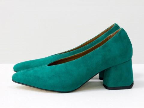 Дизайнерские туфли-перчатки на невысоком обтяжном каблуке из натуральной итальянской замши,  Т-2050-26