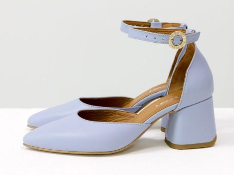 Классические голубые туфли из натуральной кожи на расклешенном каблуке, С-2013-07