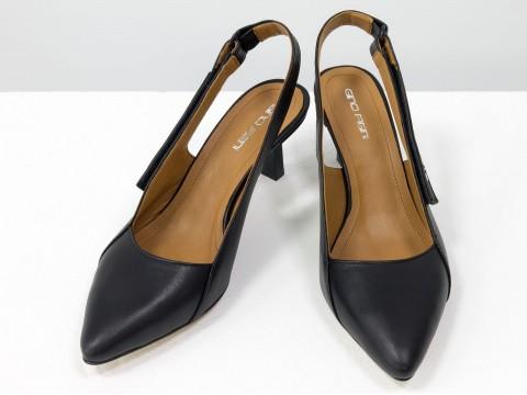 """Дизайнерские туфли-лодочки на  каблуке """"рюмочка"""" из натуральной итальянской кожи черного цвета,  Т-2140-01"""