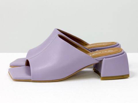 Дизайнерские шлёпанцы на небольшом каблуке из натуральной итальянской лавандовой  кожи, С-2127-05