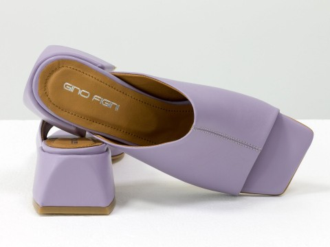 Дизайнерские лавандовые шлепанцы на устойчивом каблуке из натуральной итальянской кожи