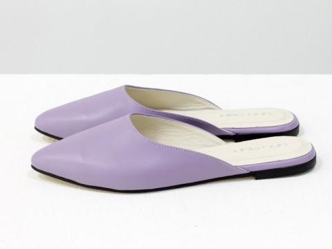 Женские мюли на низком ходу из кожи лилового цвета, Т-17428-19
