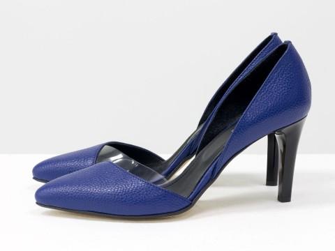 Синие туфли лодочки из натуральной  кожи флотар на шпильке, Т-1928-07