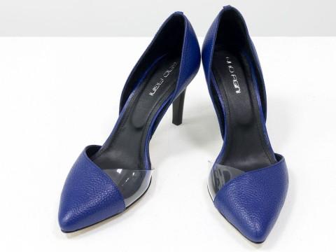 Синие туфли лодочки из натуральной кожи флотар на высокой шпильке, Т-1928-07