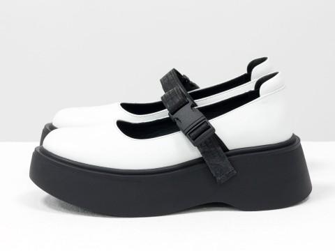 Женские белые туфли на из натуральной белой кожи на утолщенной черной подошве, Т-2117-01