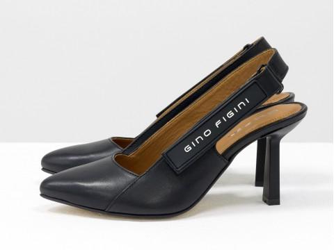 Дизайнерские туфли лодочки с открытой пяткой из натуральной итальянской кожи черного цвета,  Т-2114-01
