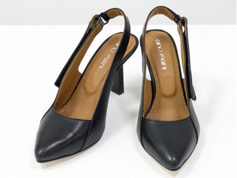 """Дизайнерские туфли-лодочки на высоком каблуке """"рюмочка"""" из натуральной итальянской кожи черного цвета,  Т-2114-01"""
