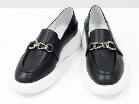 Туфли-лоферы из итальянской кожи черного цвета на утолщенной подошве, Т-2118-01