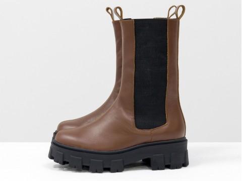 """Высокие  ботинки """"челси"""" из кожи коричневого цвета на тракторной подошве, Б-2078-09"""