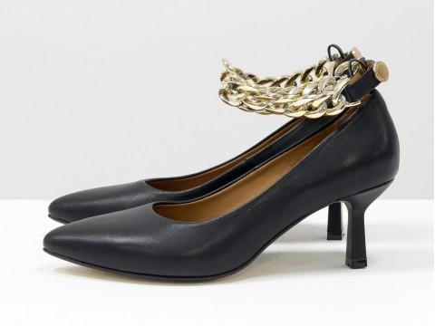 Дизайнерские туфли лодочки на  каблуке из натуральной итальянской кожи черного цвета,  Т-2116-01