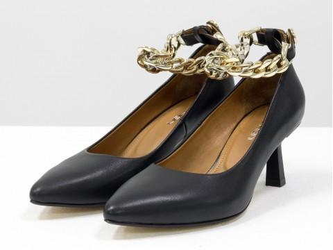 """Дизайнерские туфли-лодочки на каблуке """"рюмочка"""" из натуральной итальянской кожи с цепочкой,  Т-2116-01"""