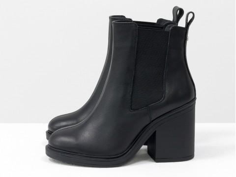 Ботинки свободного одевания черного цвета из натуральной кожи с широкой резинкой на устойчивом каблуке, Б-17330