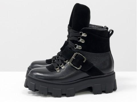 Женские  ботинки берцы из натуральной  черной кожи и замши на тракторной подошве, Б-2084-04