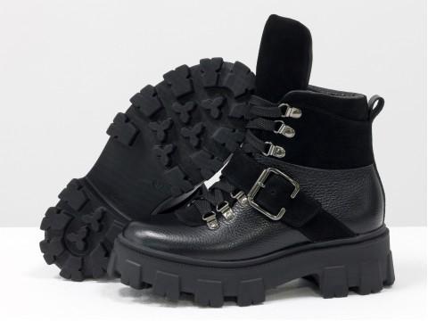 Женские берцы из натуральной кожи и замши черного цвета на шнуровке, Б-2084-04