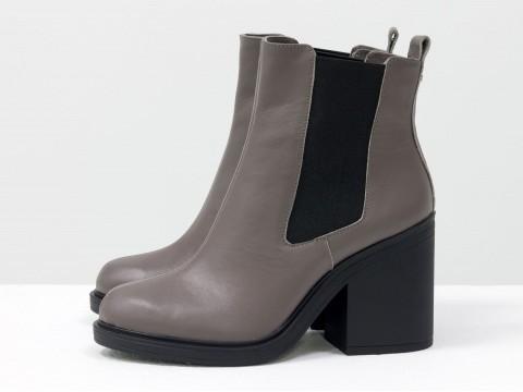 Женские весенние ботинки на каблуке из кожи, Б-17330-14